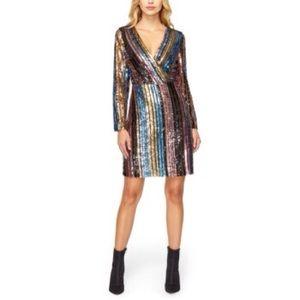 Sam Edelman Sequin Surplice Dress Long Sleeve